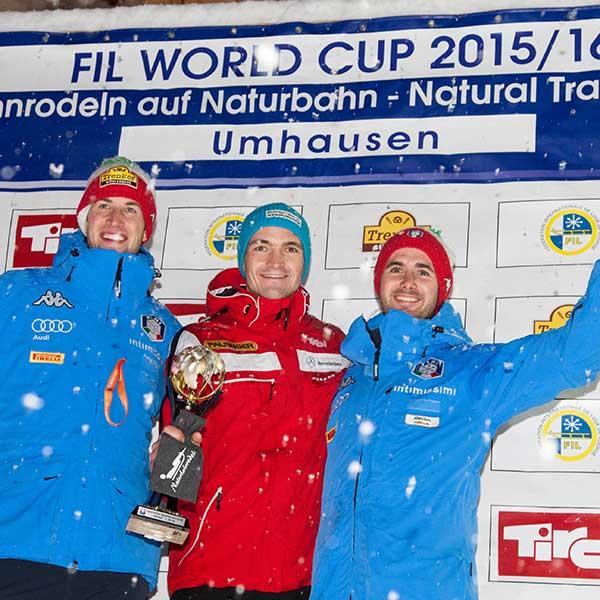 Siegerpodest aus dem Jahr 2016 - Naturbahnrodel Weltcup Finale Grantau