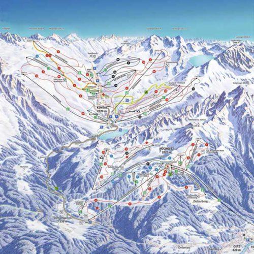 Skigebietsplan Hochoetz - Kühtai - Skiregion Hochoetz - Kühtai