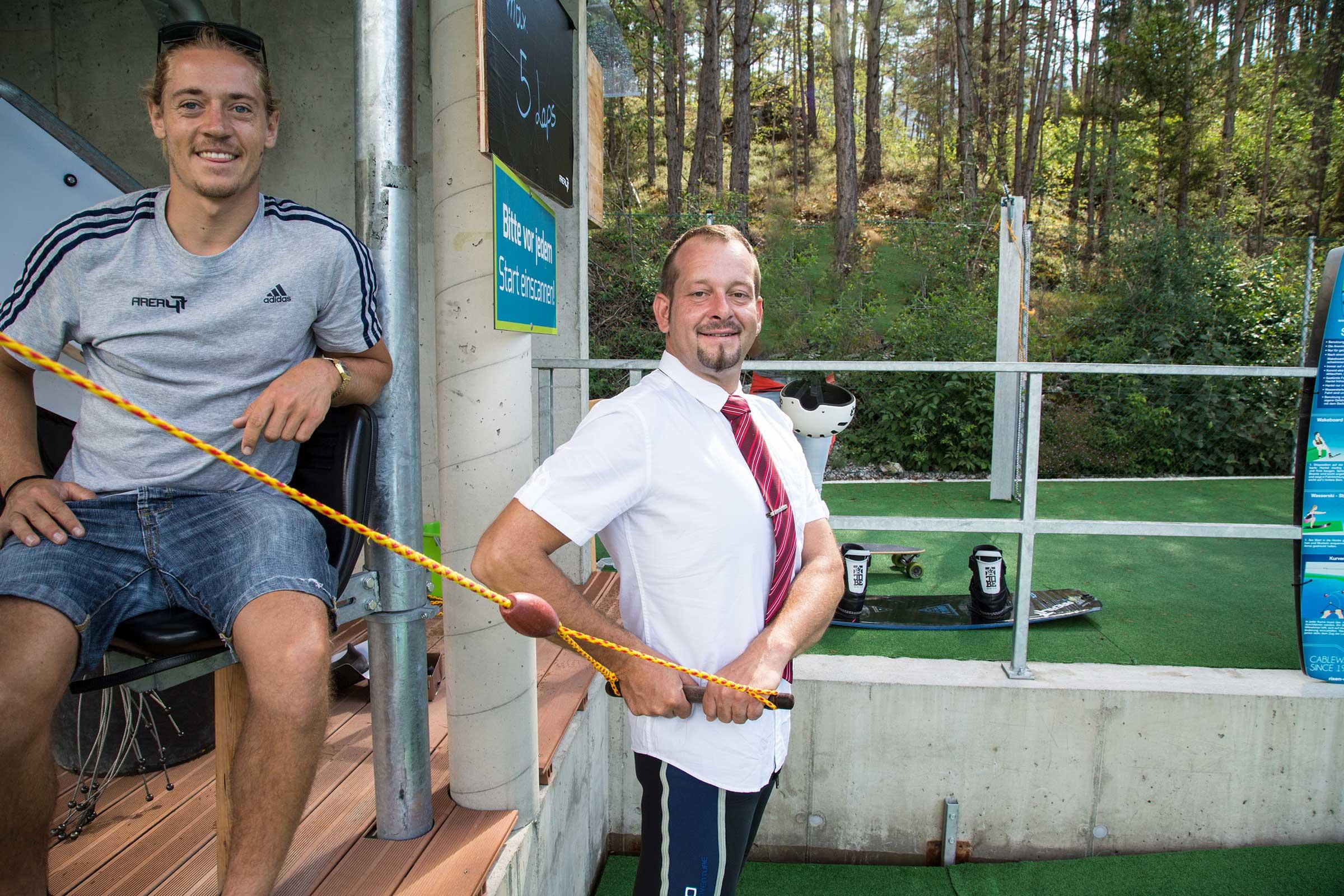 Lokführer Christoph bei Wakeboardlift - Area 47 Wake Area ÖBB