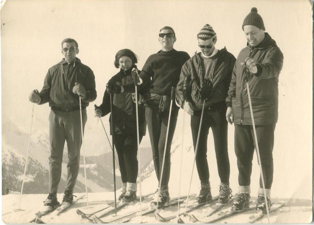 Kurt Fischer in der Mitte ca. 1966 - Skiregion Hochoetz