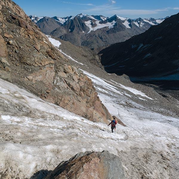 Schneerinne auf dem Weg zur Wildspitze - Wildspitze Ötztal