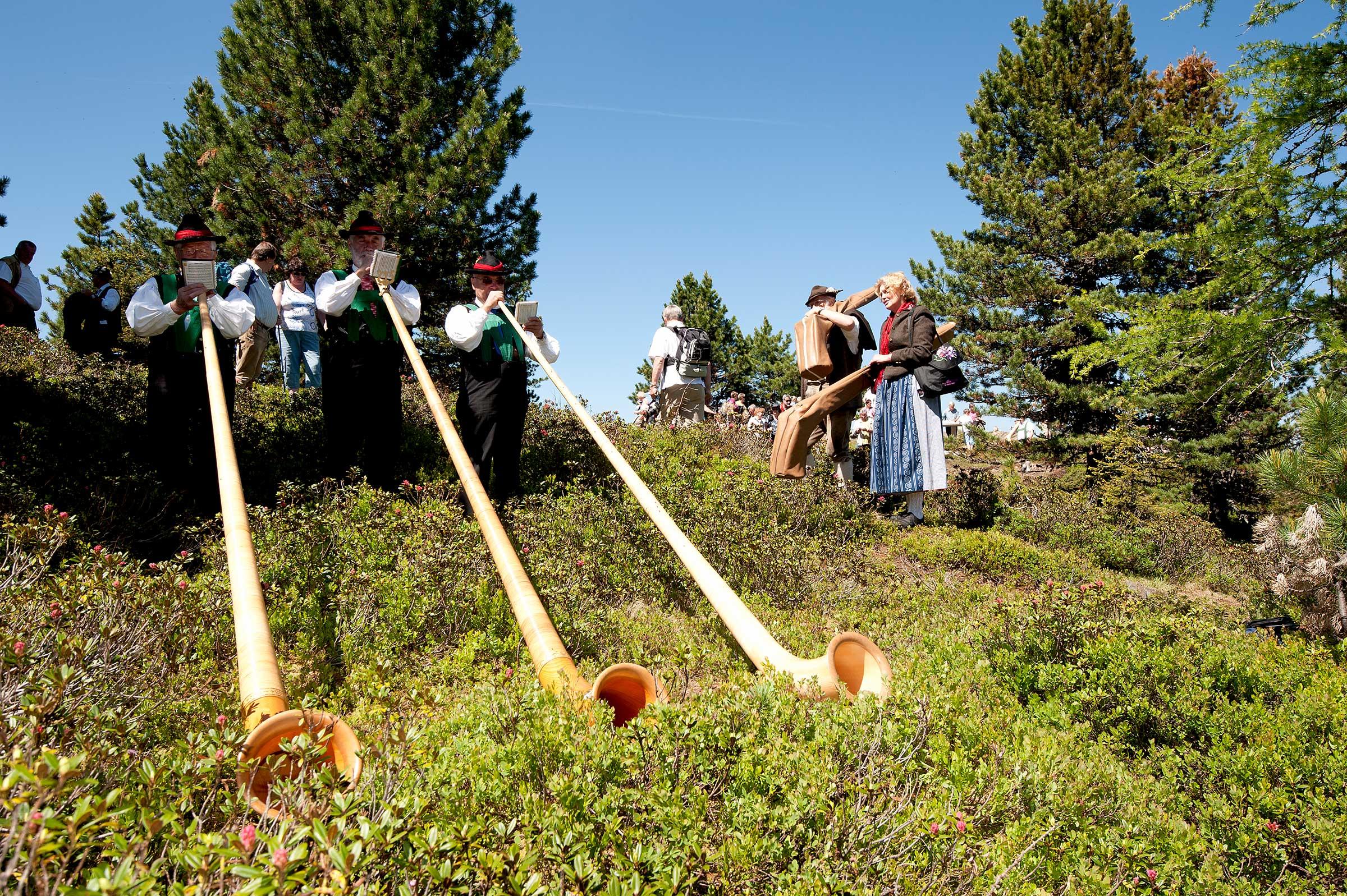 Alphornbläser in Bergwiese - Alphorntreffen Hochoetz Ötztal