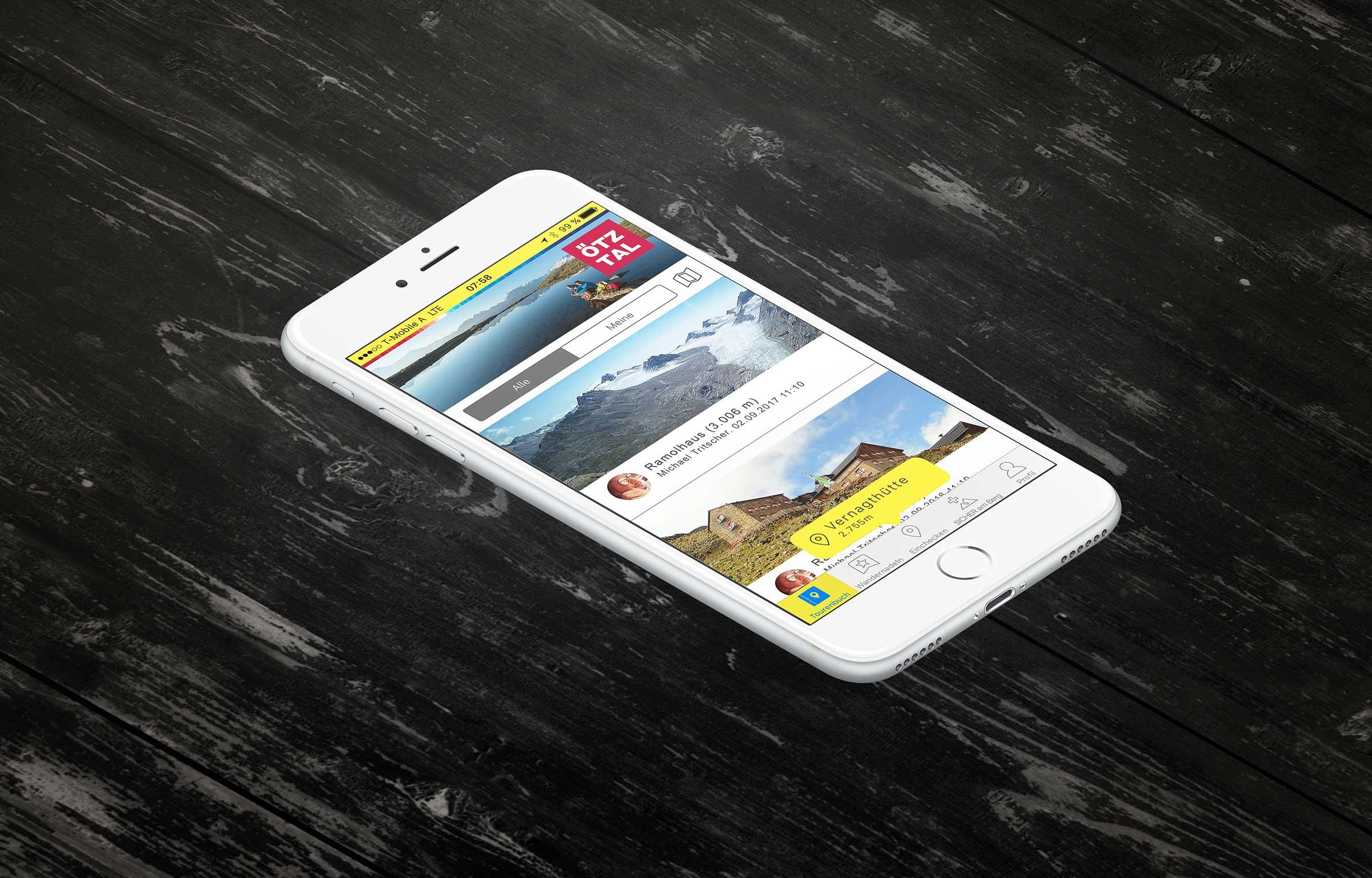 SummitLynx App auf Smartphone - Digitale Wandernadeln sammeln
